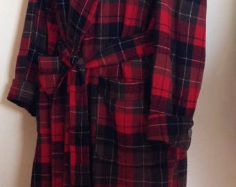 Vintage Mens 1960's Red Plaid Pendleton Wool Robe