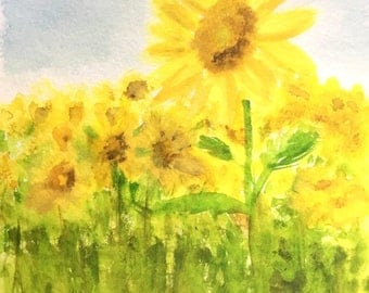 Sunflower Watercolor PRINT