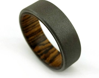 Bocote Ring, Sandblasted Titanium, Sandblasted Ring, Exotic Wood Jewelry, Zebrawood, Striped Wood Ring, South American Ring, Grand Junction