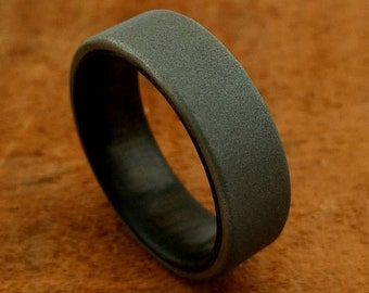 Bog Oak Ring, Ancient Wood Ring, Bog Oak Jewelry, Wedding Band, Wedding Ring, Sandblasted Titanium, Blackwood Ring, Back Wood Jewelry, Ring