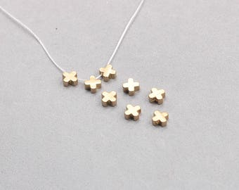 30Pcs, 6mm Raw Brass Cross Beads Charms , Hole Size 1.5mm , SJP-A402