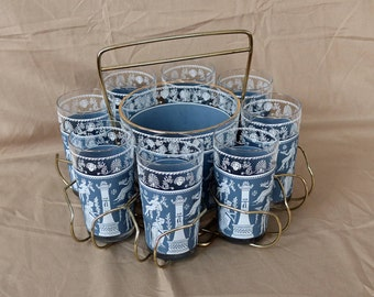 "Jeannette Glass ~ ""Corinthian Blue"" ~ Set of 8 Cocktail/Ice Tea Drink Glasses/Tumblers ~ Carrier w/ Ice Bucket ~ 1950s ~ Mid Century ~ Greek"