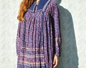 Indian dress, Indian gauze dress, vintage 70s Indian dress, boho maxi dress, festival dress, hippie dress