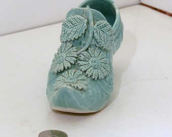 Green Flowered Majolica Shoe