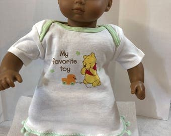 "15 inch Bitty Baby Clothes, Adorable ""WINNIE the POOH"" - My Favorite Toy! Dress, 15 inch AG Doll Bitty Baby or Twin Doll, Love Pooh Bear!"