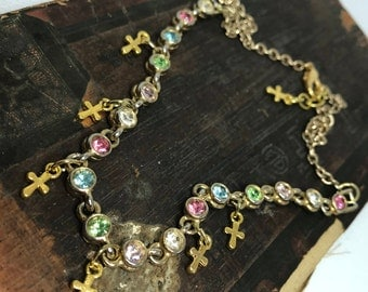 Multi Colored Rhinestone and Gold Cross Charm Necklace