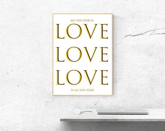 LOVE, Instant Download Printable Art, White and Gold Print, Modern, Minimal, Gold, Wall Prints, Inspirational Print, Wall Decor, Home Decor