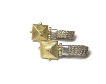 Vintage Sterling Pyramid Dangle Earrings Anatoli