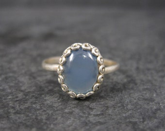 Dainty Vintage Sterling Chalcedony Ring Size 8
