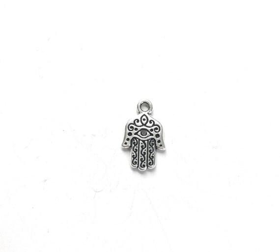 Hamsa Hand Charm, Tassel Charm, Mala Bead Charm, Yoga Jewelry, Charm For Tassel Jewelry, Hamsa Pendant