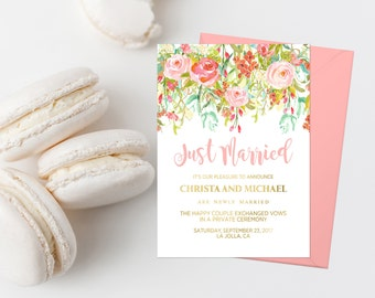 Spring Floral Just Married Wedding Announcement Printable Pink Marriage Announcement Elopement Announcement We're Married We Eloped 117