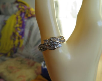 Handcrafted 14KT Gold/925 Silver 1.00ctw White Sapphire & Genuine Diamond Engagement Ring Size 9.5, Weight 4 Grams