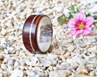 Cocobolo & Deer Antler Ring with Sterling Silver Dust Inlay, Wedding/Engagement Band, EPR116