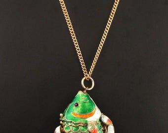 Vintage Articulated Enameled Big Fish Pendant / Necklace