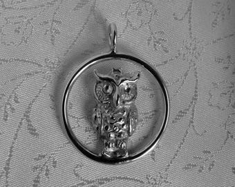 Sterling Silver Owl Charm, silver owl in circle, made in Ireland