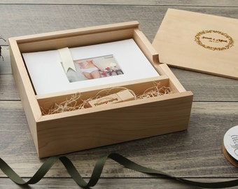 "5x7"" Maple Wood USB & Photo Box - Print Proof Box - Photography Presentation Box ( Custom Laser Engraving Included, USB Optional )"