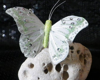 "Adjustable ring "" FAIRY BUTTERFLY "" green, white and silver"