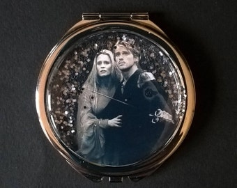 "Pocket mirror or bag with glitter "" PRINCESS BRIDE """