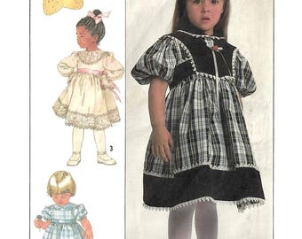 Simplicity 8405 Sewing Pattern for Girls Dress and Lined Vest Peter Pan Collar Short or Long Sleeves sz 3 thru 5 Uncut