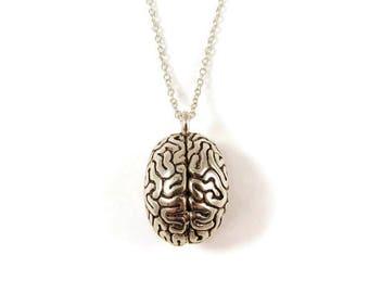 Anatomical brain necklace, brain pendant, horror jewelry, Halloween necklace, Halloween jewelry, zombie necklace