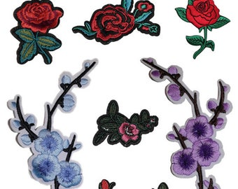 ROSE Iron on / sew on Embroidery Patch FLOWER Badge FLORAL Embroidered Applique Motif