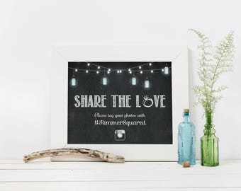 Printable Wedding Hashtag Instagram Sign, Personalized, Hashtag, Social Media, Pictures, Sharing Pictures, Upload Pics, Reception, MB055