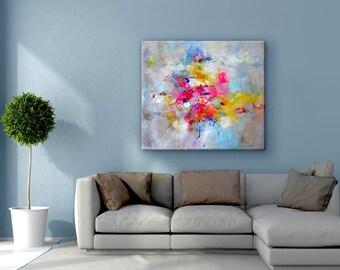 Extra large wall art, Modern wall art, Livingroom decor, Abstract art painting, Original art painting, Acrylic painting canvas art, yellow