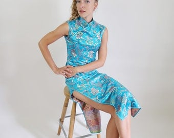 STUNNING 90s Full Length Teal Embroidered Cheongsam Gown/Dress