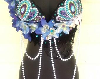 Mermaid Bra, MADE TO ORDER! Mermaid Goddess, Rave Bra, Shell Bra, Festival Bra, Mermaid Costume, Festival Lingerie, Edc Bra, Rave Wear