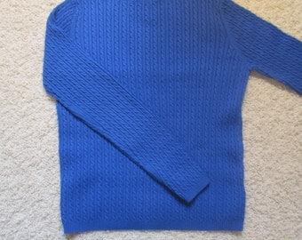 SALE! Lauren-RalphLauren-Womens(M)- Mini Cable,Boat Neck, Stretch Cotton Vintage Sweater-3/4 Sleeves-Royal Blue