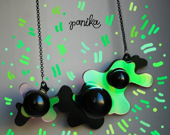 PANIKA Black ball necklace - holographic statement  necklace - laser cut acrylic necklace - geometric abstract