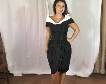 1980's Vintage Victor Costa Black Tulip Dress with White Collar