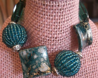 Bracelet Handmade Costume Jewelry Teal