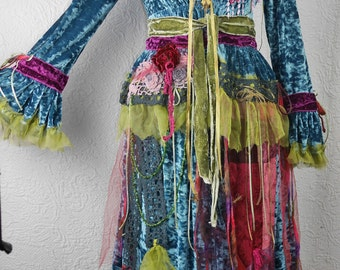 "Magnificent Blue 'velvet-struck' dress, ""Winter sparkle"", Boho dress, Very Feminine, Art to Wear, Unique Piece"