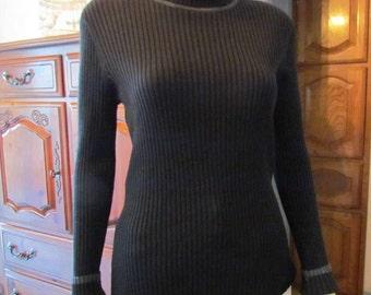 Black Ribbed Turtleneck Sweater M