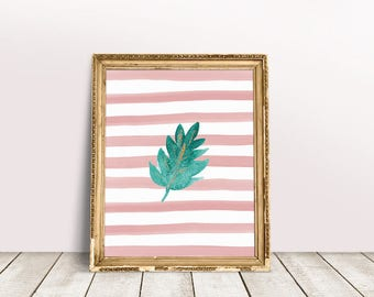 Botanical Leaf Art | Palm Leaf Print, Palm Leaf Printable, Nursery Leaves Art, Nursery Leaf Art, Leaf Painting Print, Leaf Paint Print