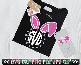 Bunny Ears Monogram SVG Files Easter Rabbit Frame Designs - Easter SVG Files - Easter Bunny Monogram SVG - Easter Bunny Ears Svg
