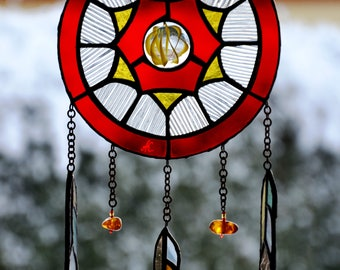 Suncatcher Dreamcatcher Tiffany mosaic window pendant Handmade wall hanging. Glass dream catcher. Protective amulet Aztec Decor Stained glas