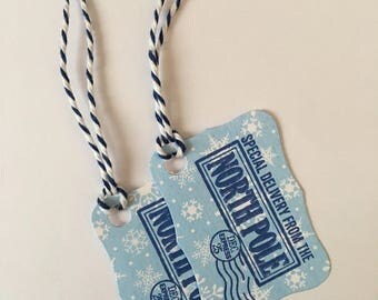 "Handmade Christmas Gift Tags, Blue Snowflakes, ""Special Delivery from the North Pole"", Pack of 10"