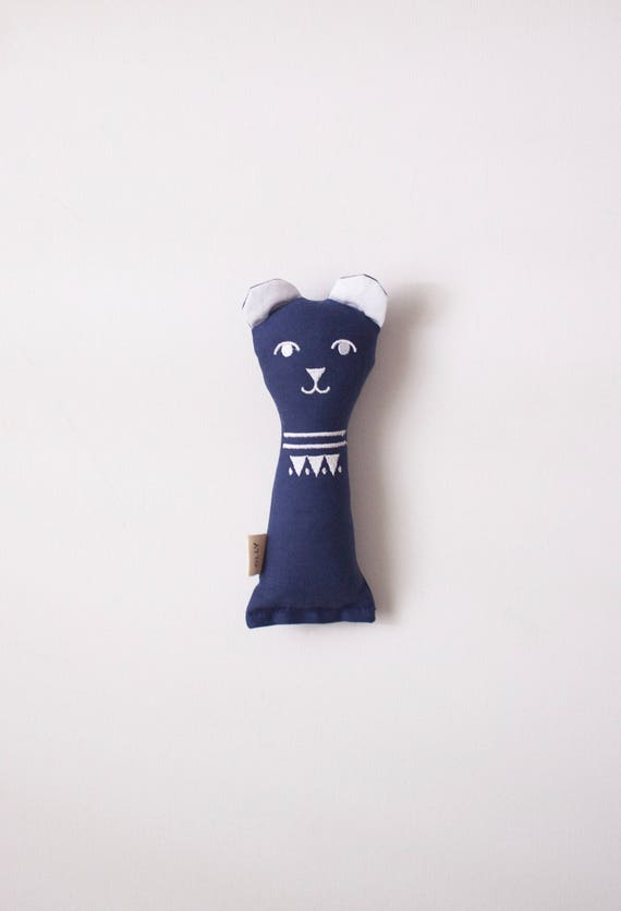 Navy Blue Baby Bear Rattle: handmade with eco-friendly materials