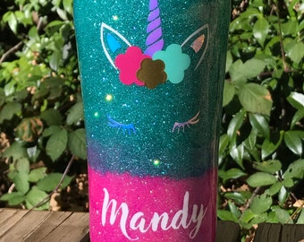 Personalized unicorn tumbler, ombré ozark trail, popular unicorn, 10oz, 20oz or 30oz stainless steel tumbler, hot pink and teal glitter,