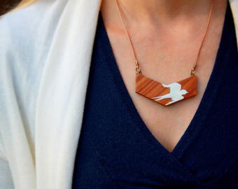 Bird Necklace, Hand Painted Necklace, Wood Pendant, Handmade Bird Jewelry, Chevron Minimalist Necklace, Nature Jewelry, Bird Gift for Woman