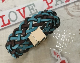 Mixed blue and Brown Leather Bracelet braided