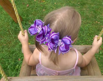 Large hair bow Boutique girl hairbow lot Girl bow hair holder Purple toddler hair ribbon bow Set of hairbow Hair holder Over the top bow
