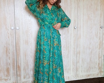 Vintage maxi dress,Emerald dress,Floral print dress,70s dress,Romantic dress,Summer dress,Long dress,Green dress,Hippie dress,Trend dress
