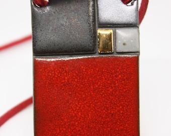 Red & Gold Ceramic Pendant / Minimalistic ceramic / Modern geometric jewelry