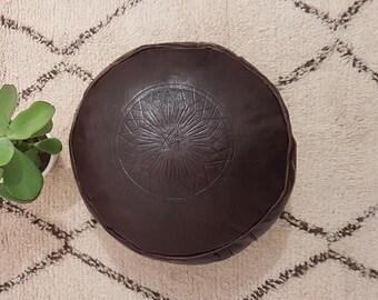 Genuine leather Moroccan Pouf , pouffe , ottoman,P32