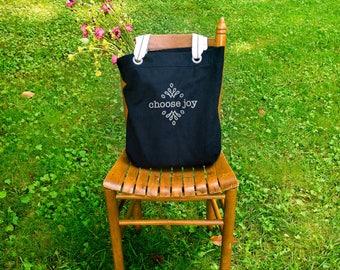 Choose joy canvas school bag black, shoulder canvas bag, tote everyday bag, farmers market bag, big bag tote, inspirational gifts for her
