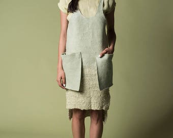Jade jumper hand felt and woven merino wool dress, Luxury wearable art charming dress, Yerba mate hand dyed, Woodland post apocalyptic top