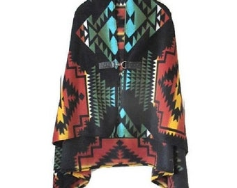 ON SALE Poncho Native American Style Black Panther Shawl Cape Women's Warm Blanket Poncho Vintage Aztec Print Tribal, Gift For Her Handmade